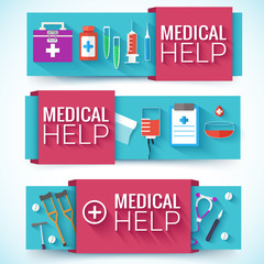 Medicine flat icons set concept. Vector illustration