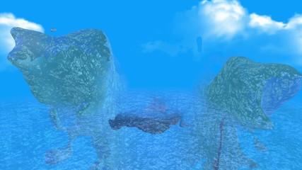 volcanic island between water mountain over ocean