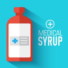 flat medical syrup background. vector illustration concept