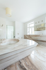 Marble elements in expensive bathroom