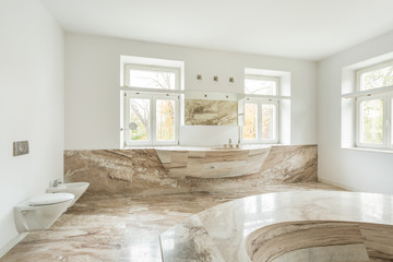 Expensive bathroom with marble floor