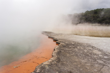 mist over Champagne pool in Waiotapu