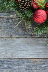 Christmas Decoration Over Wooden Background. Decorations over Ru