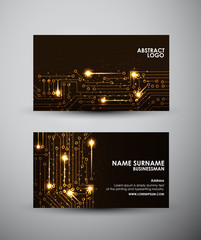 Abstract yellow lights Business card vector design template.