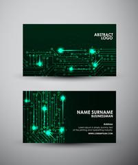 Abstract green lights Business card vector design template.