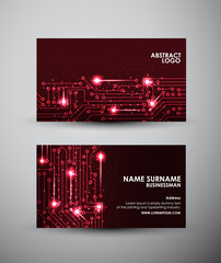 Abstract red lights Business card vector design template.
