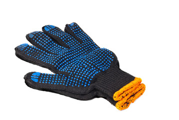 work gloves black color isolated on white background