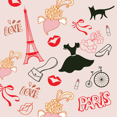 french pattern with kisses