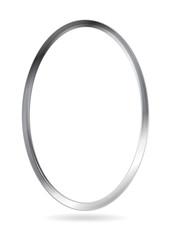 Steel metal ellipse frame. Vector border