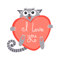 Cute cartoon ginger cat with heart and declaration of love.