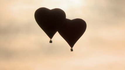 Hot air balloons in shape of hearts