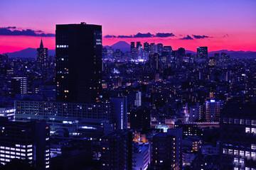新宿副都心の夕方