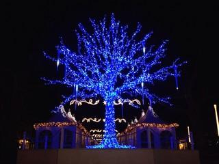 tree with blue LED lights