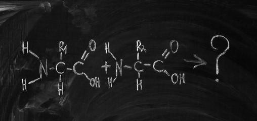 Amino acid's formula written on the blackboard