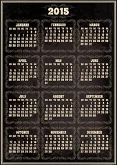 calendar template for 2015 in retro style
