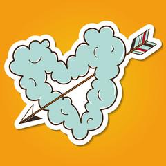 Cloud heart with arrow.