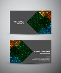 Abstract square business card vector design template