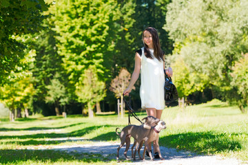Young girl  with two greyhounds in the park