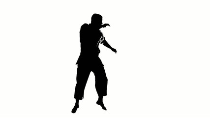 Silhouette of a karate man exercising against white background.