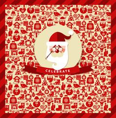 Invitation card of christmas.Christmas seamless pattern.