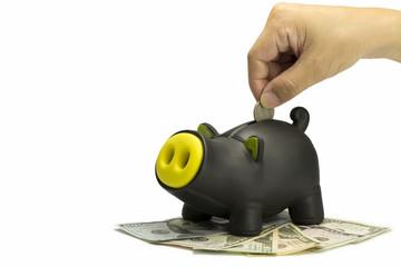 saving black color Piggy bank - Stock Image