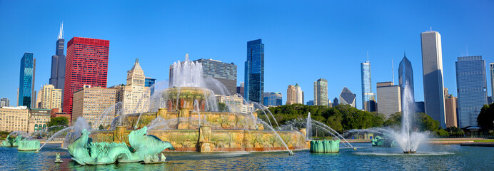 Buckingham Fountain panorama, Chicago, IL, US