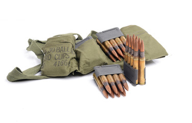 M1 Garand clips,  ammunition and bandolier.