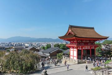 Tourists visit Kiyomizu-dera Temple Gate in Kyoto.