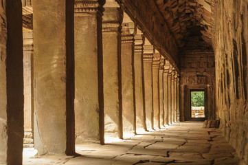 empty corridor of ancient Angkor Wat