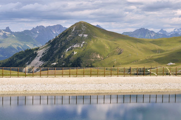 Pond in the mountains of La Plagne in France