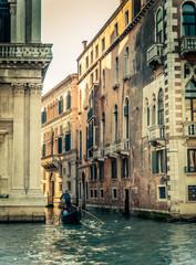 Retro Filtered Venice Grand Canal Gondolier