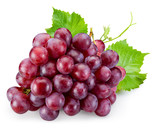 Ripe red grape with leaves isolated on white