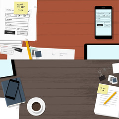 website development & office banners - flat design illustration