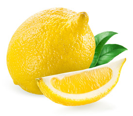 Lemon with slice isolated on white background © Tim UR