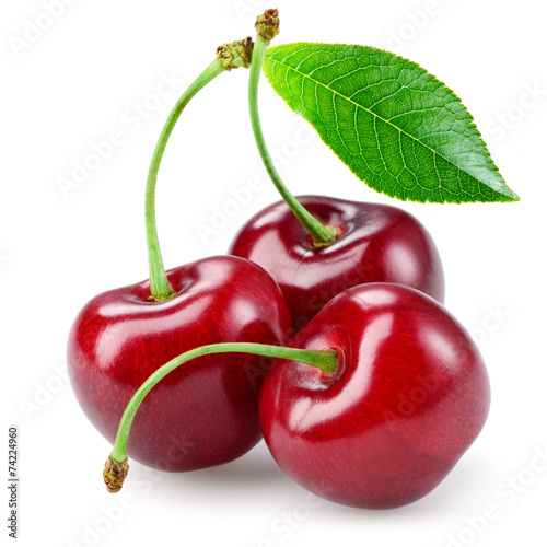 Staande foto Vruchten Cherry with leaf isolated on white.