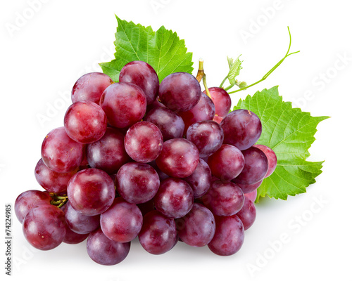 Foto op Aluminium Vruchten Ripe red grape with leaves isolated on white