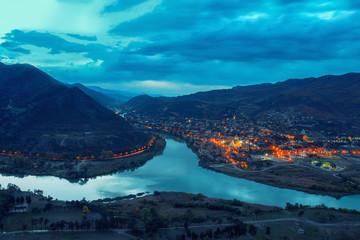 Night panoramic view of Mtskheta city from Jvari Monastery
