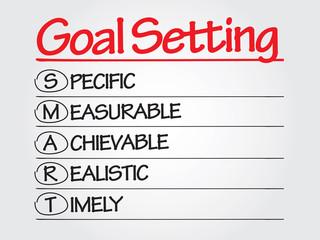 Hand writing SMART Goal Setting, presentation background