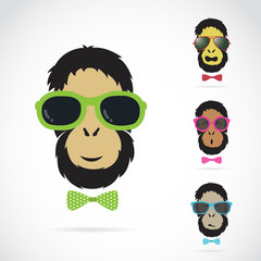 Vector images of orangutan wearing sunglasses