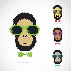 Vector images of orangutan wearing sunglasses