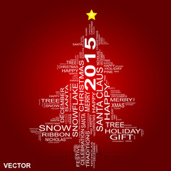 Conceptual Christmas holiday word cloud