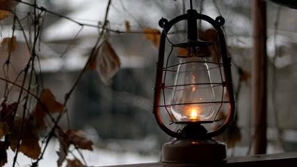 put old kerosene lamp, outdoor