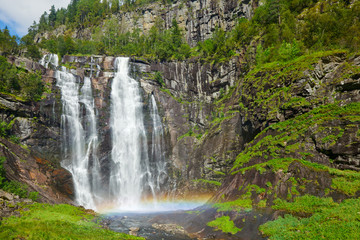 Upper tier of Skjervsfossen waterfall in Granvin, Norway