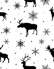 seamless background from black deers and snowflakes