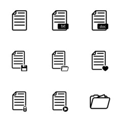 Vector black documents icon set