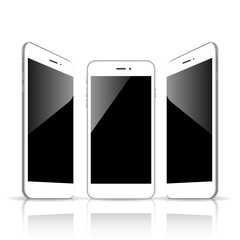 realistic white smartphone