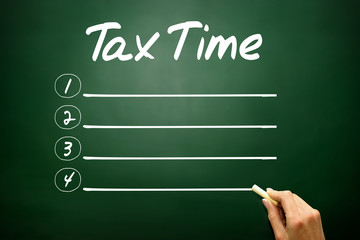 Hand drawn TAX TIME blank list, business concept on blackboard
