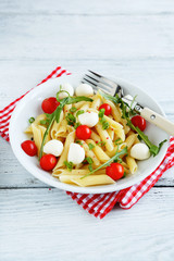 Delicious pasta with tomato and cheese