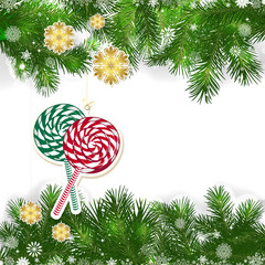 Christmas background with Christmas decor and green branches.