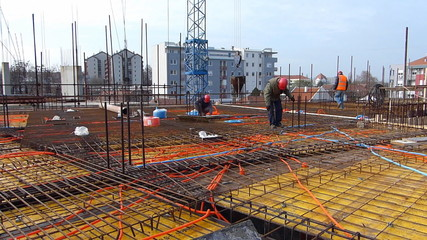 The cage of reinforcement bar on building at construction site